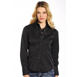 CAMICIA BLACK FLOWER PANHANDLE SLIM
