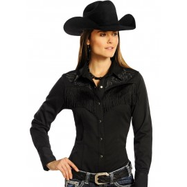 CAMICIA BLACK FRINGES PANHANDLE SLIM