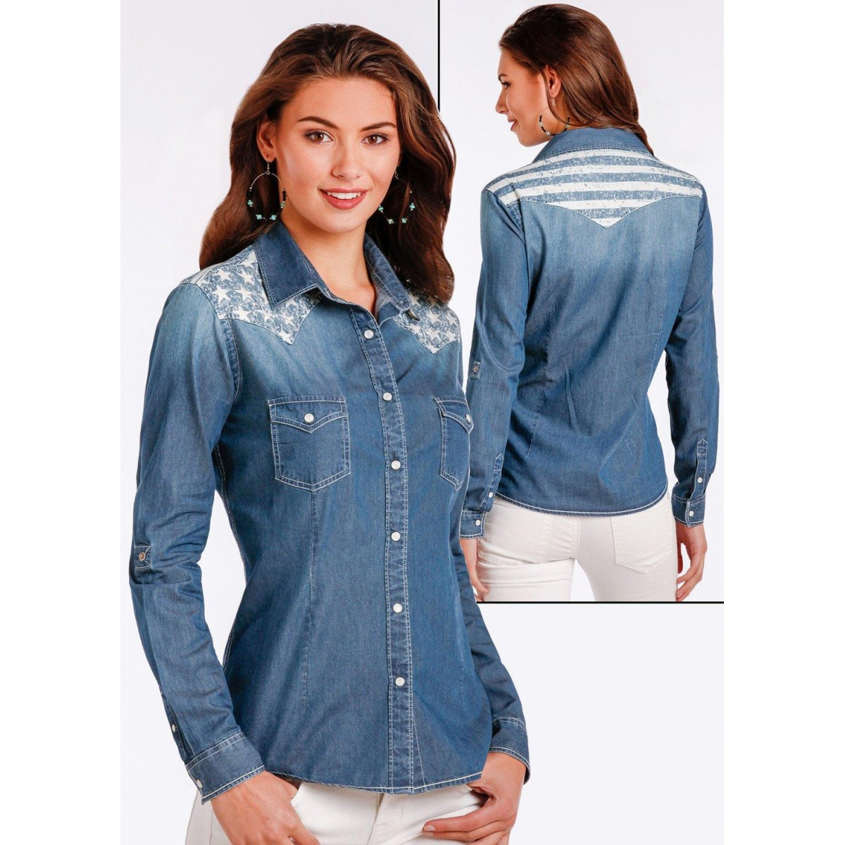 599ccb64dd CAMICIA JEANS DONNA ROUGH STOCK PANHANDLE SLIM