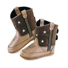 BABY BOOTS BROWN STARS OLD WEST
